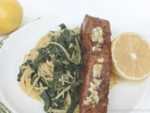 Meyer Lemon & Kale Linguine with Salmon