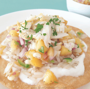 Crab Tostadas with Peach and Corn Salsa