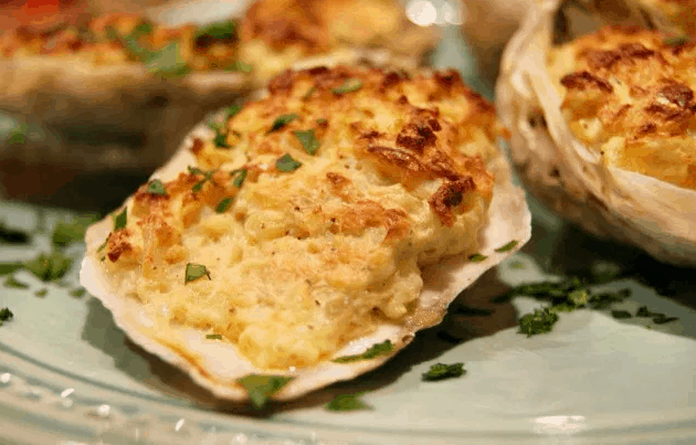 Oysters on the Half Shell Baked with Creamy Crab