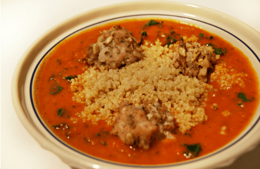 Roasted Red Pepper Soup with Quinoa & Turkey Meatballs