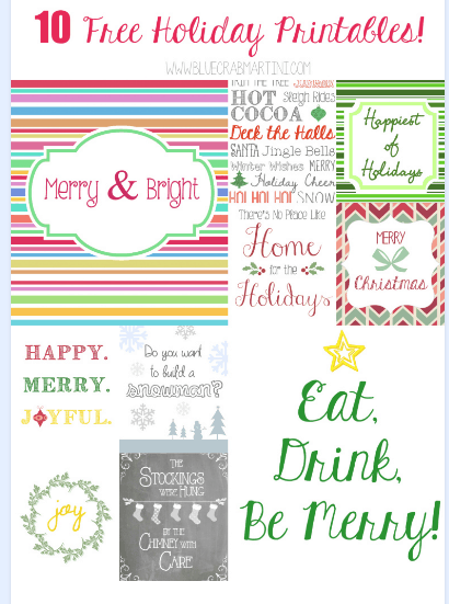 11 Weeks of Wonder #4- 10 Free Holiday Printables!