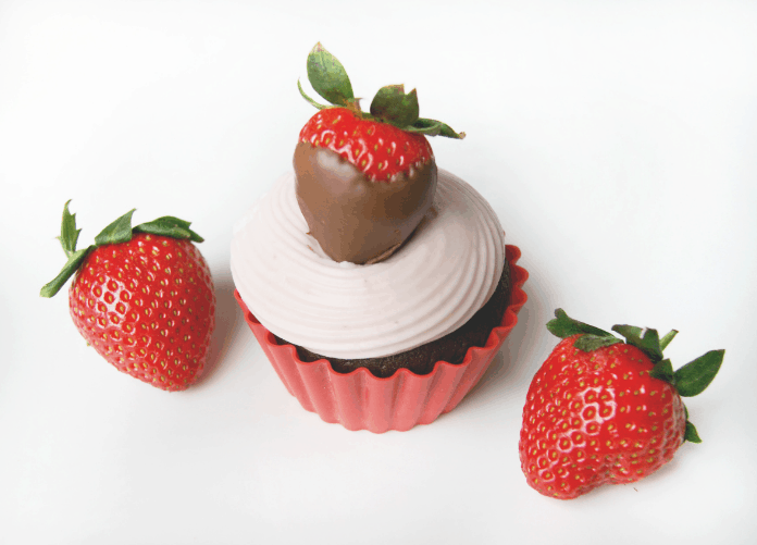 Chocolate Cupcakes with Strawberry Cream Cheese Frosting
